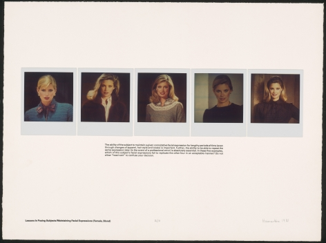 Heinecken, Lessons in Posing Subjects / Maintaining Facial Expressions (Female, Blond), 1981