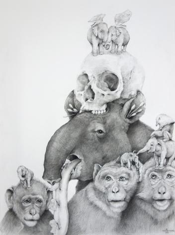 Adonna Khare, Tapir, Monkeys with Skull, 2016