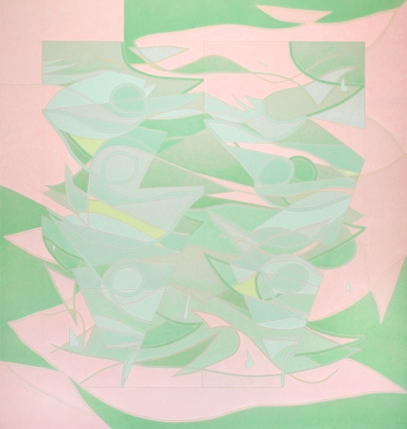 Margaux Ogden (b. 1983) Curtains II (Pink and Green), 2018