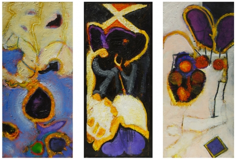 William Scharf, Piscinian Smile, Surprise by Pendulum, Tyr Rite (From left to right), 2001, 2000, 2000-1 (From left to right)