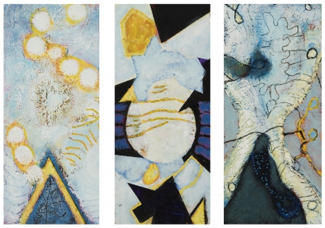 William Scharf, To Golden Wreath, The Geometric Smile, On the Trance Branch (From left to right), n.d., 2001, 2007 (From left to right)