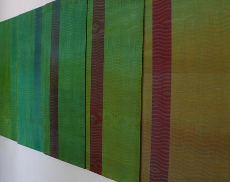 Debbie Barrett-Jones: Five Gradation with Green Handwoven Panels