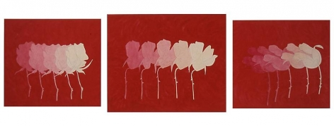 A Rose Is A Rose (Marvin), 2005, pencil, acrylic, marble dust on canvas, 63 x 168 inches