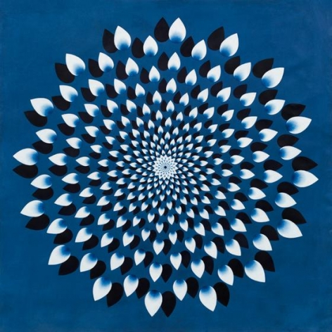 1000 Petals (Blue), 2015, stone pigment and Arabic gum on handmade Sanganer paper, 36 x 36 inches/91.4 x 91.4 cm