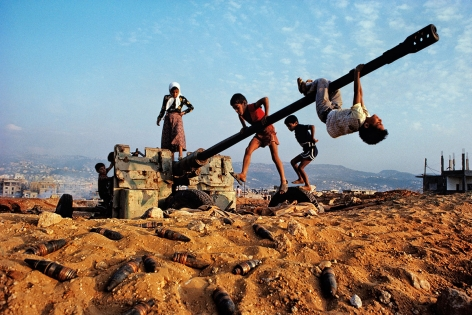 Children playing, near Beirut, Lebanon, 1982, ultrachrome print, 40 x 60 inches/101.6 x 152.4 cm