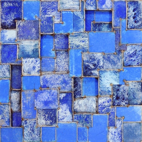 Chichen Time Blue, 2011, pure pigment on steel, 48 x 48 inches