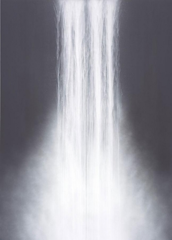 Hiroshi Senju, Waterfall, 2010, fluorescent pigment on rice paper mounted on board, 117.7 x 83.5 inches