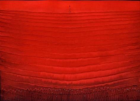 Sohan Qadri, Prana, 2004, ink and dye on paper, 39 x 55 inches