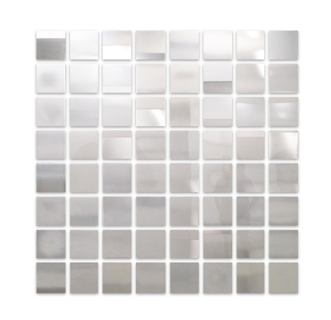 Miya Ando:White Grid, 2016, pigment urethane and resin on aluminum, 96 x 96 inches/244 x 244 cm