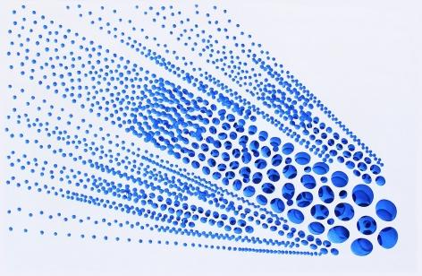 Vestige (ray-blue), 2019, acrylic on fiberglass resin, 34.65 x 22.4 x 1.8 inches/88 x 57 x 4.5 cm