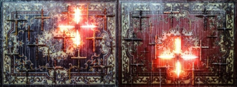 Norberto Roldan, Crusade, 2015, wooden crosses salvaged from demolished old houses on beeswax-drenched panels, neon lights, diptych, 66 x 174 inches/168 x 450 cm
