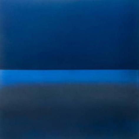 , Miya Ando, Evening Indigo, 2015, Urethane, pigment and resin on aluminum, 36 x 36 inches/92 x 92 cm