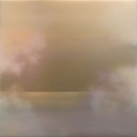 Tasogare (Dusk) 9.19.4.4.2.M.1.2.3.4.9.47.G.1, 2019, mineral dust, pigment, resin and urethane on aluminum, 48 x 48 inches/122x 122cm