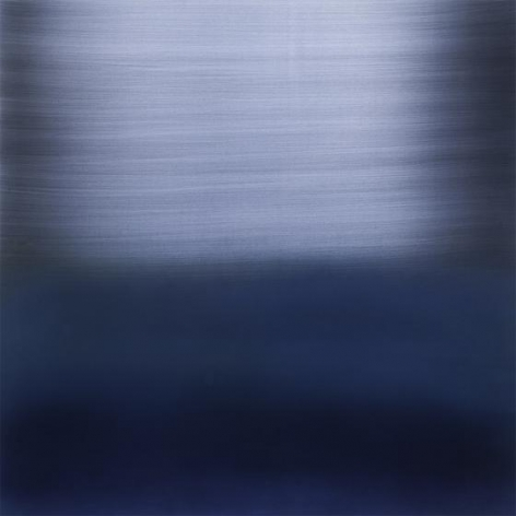 The River Indigo Light Blue, 2014, pigment, lacquer, resin, dye on aluminum, 36 x 36 inches/91.5 x 91.5 cm