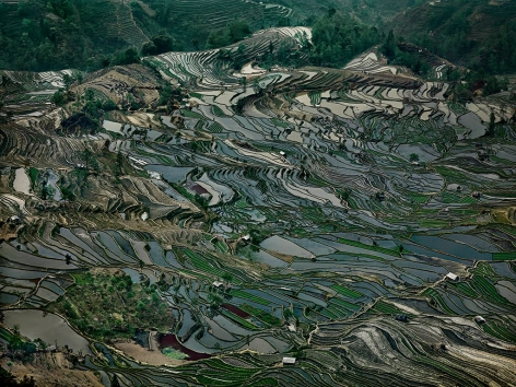 Edward Burtynsky, Rice Terraces #5, Western Yunnan Province, China, 2012, chromogenic color print, 48 x 64 inches/121.92 x 162.56 cm