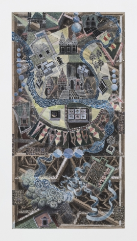 Edward Rothfarb,Map2, 2017, digital prints, photographic prints, colored pencil and charcoal, 79.5 x 44 inches/201.9 x 111.8 cm