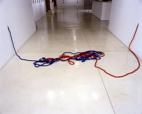 Michael Petry, The Lovers (Tie a Knot in it Series), 2007, 2 x 100 yards of knotted rope, shape variable, viewers can alter shape at will