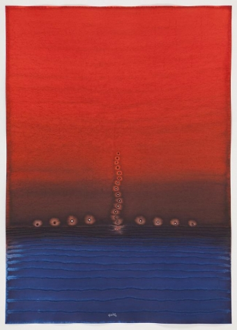 Sohan Qadri, Padma IV, ink and dye on paper, 55 x 39 inches