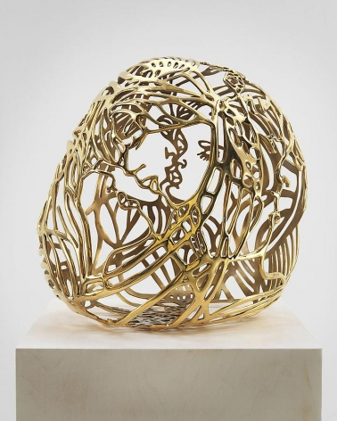 Ghada Amer, Baisers #1, 2012, gold plated bronze, 22.5 x 16 x 20 inches
