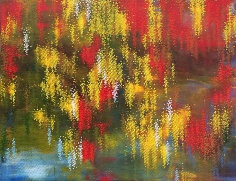 , Hosook Kang, Golden Lake II, 2013, acrylic on canvas, 53 x 69 inches