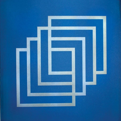 Lulwah Al-Homoud, The Infinite Cube (blue), silkscreen on paper, 46.8 x 35.6 inches inches