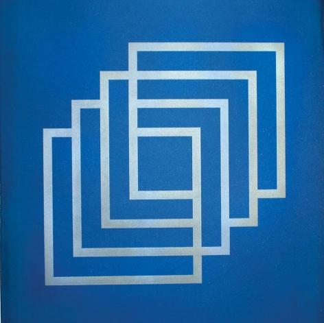 Lulwah Al-Homoud, The Infinite Cube (blue), silkscreen on paper, 46.8 x 35.6 inches inches