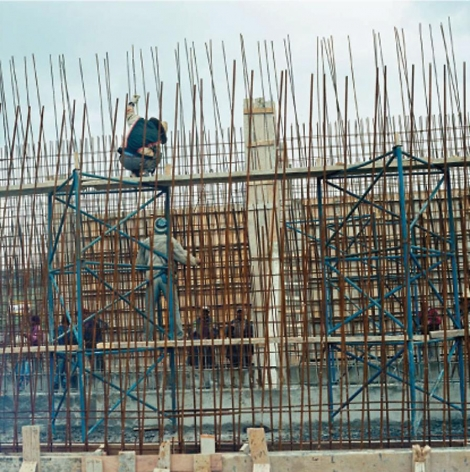 Yto Barrada, Blue Scaffold, 2008/2011, Cibachrome print, edition 1/5, 31.5 x 31.5 inches