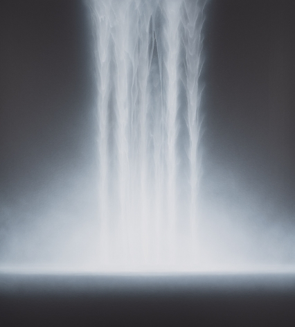 Hiroshi Senju, Waterfall, 2018, acrylic and natural pigments on Japanese mulberry paper, 55.1 x 50 inches/140 x 127 cm