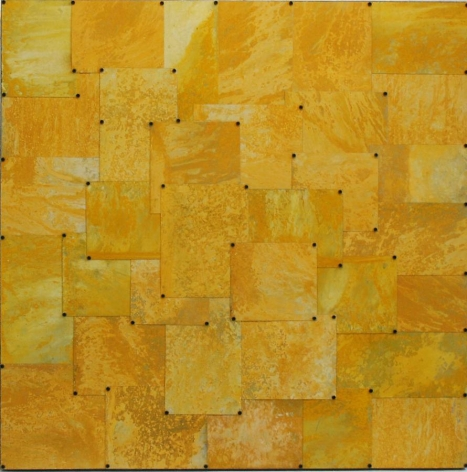 Nathan Slate Joseph, Untitled (yellow), 2010, Pure pigment on steel, 36 x 36""