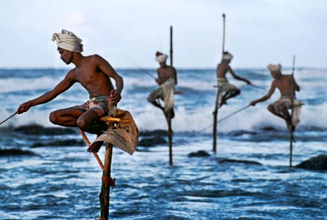 Stilt fishermen, Weligama, South Coast, Sri Lanka, 1995, chromogenic print on Fuji Crystal Archive paper, 20 x 24 inches/50.8 x 61 cm