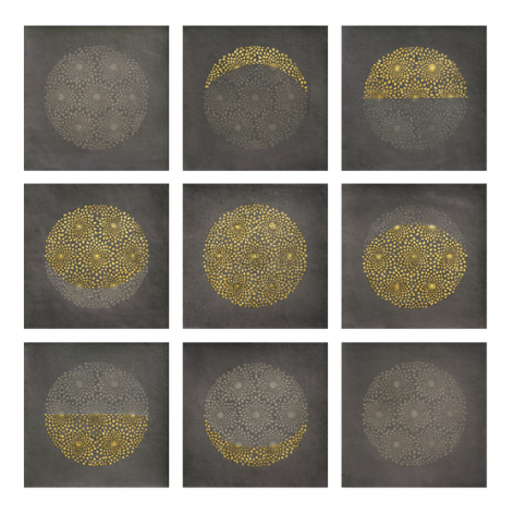 , I Am the Moon, 2015, stone pigment, Arabic gum and gold leaf on handmade Sanganer paper, 9 panels, 14 x 14 inches/35.5 x 35.5 cm each