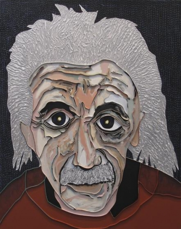 , Lee Waisler, Albert Einstein, 2012, acrylic and wood on canvas, 60 x 48 inches/152.4 x 121.9 cm