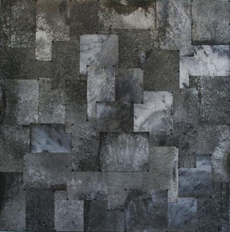 GURUYAMA (gray), 2010, pure pigment on galvanized steel, 45x 45inches/114.3 x 114.3cm