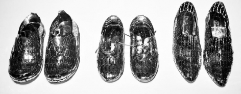 Miles After Miles, 2015, stainless steel razor blades, 76.8 x 29.5 x 11.8 inches/195 x 75 x 30 cm