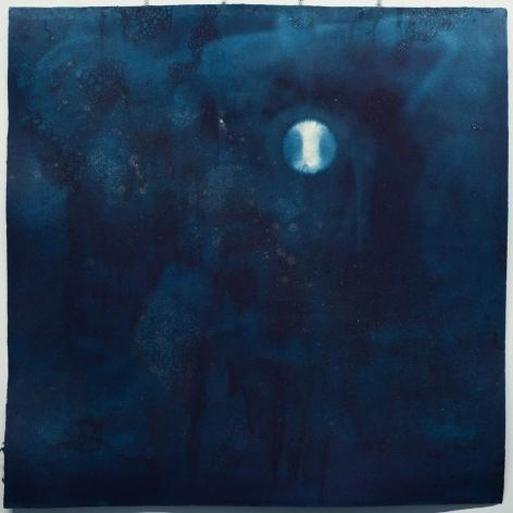 Miya Ando, 5 Noborizuki (Rising Moon/Waxing Gibbous) August 31 2020, 2020, indigo and micronized pure silver on Kozo paper, 39 x 39 inches/99.1 x 99.1 cm