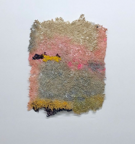 Dawn, Yet Again, 2019, plucked Japanese handmade paper, acrylic paint, thread, 17 x 13 inches/43.2 x 33 cm