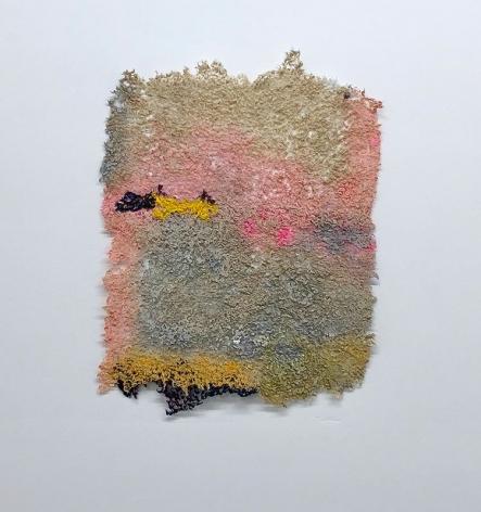 Dawn, Yet Again, 2019, plucked Japanese handmade paper, acrylic paint, thread, 17 x 13 inches/43.2 x 33 cm