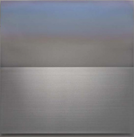 Miya Ando, Spring Faint Sky Blue Lavender, 2015, urethane and pigment on aluminum, 36 x 36 inches/91.5 x 91.5 cm
