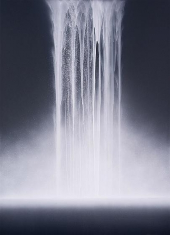Hiroshi Senju, Waterfall, 2014, acrylic and fluorescent pigments on Japanese mulberry paper, 70 7/8 x 51 1/8 inches/180.02 x 129.86 cm.