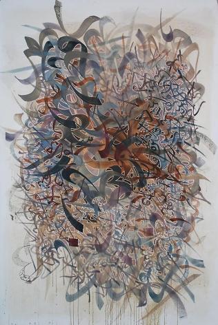 "Khaled Al-Saai, Carpet of Letters, 2008, Mixed media on canvas, 58 x 38"""