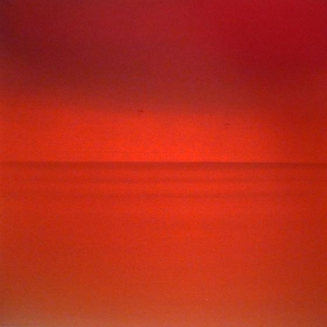 , Miya Ando, Ephemeral Deep Red, 2014, dye, pigment, lacquer, resin on aluminum, 36 x 36 inches/91.4 x 91.4 cm