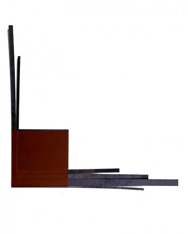"Merrill Wagner,  Fling , 2006, Rust preventative paint on steel, 39.25 x 38.25"""