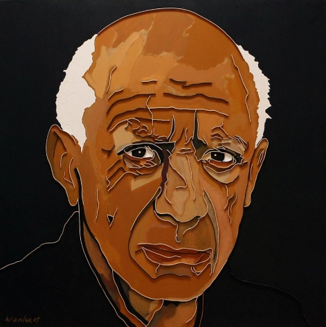 Lee Waisler, Picasso, 2007, mixed media on canvas, 50 x 50 inches