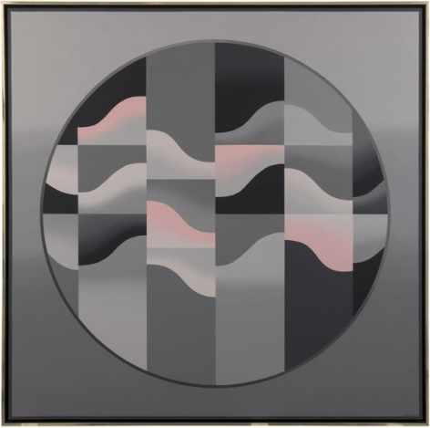 , Anthony Poon, AP on Grey on Circle, 1985, acrylic on canvas, 71.65 x 71.65 inches/182 x 182 cm.