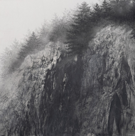 Hiroshi Senju, Cliff, 2020, natural pigment and platinum on Japanese mulberry paper mounted on board, 51.3x 51.3inches/130 x 130 cm