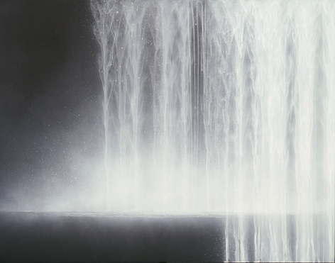 Waterfall, 2009, pure natural pigment on mulberry paper, 35.8 x 45.9 inches/91 x 116.6 cm