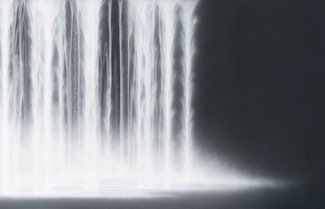 Waterfall, 2020, natural pigments on Japanese mulberry paper mounted on board, 57.25x 89.5inches/145.4 x 227 cm