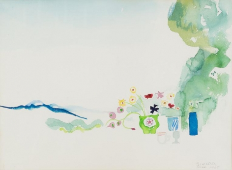 Mont Amiata, 1965, watercolor on paper, framed size: 15 x 19 inches