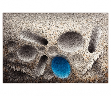 Aggregation 11 - AP025 Blue, 2011, mixed media with Korean mulberry paper, 38.6 x 57.5 inches/98 x 146.1 cm