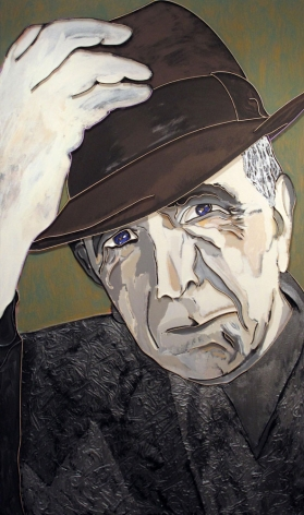 Leonard Cohen, 2009, acrylic and wood on canvas, 60 x 36 inchesinches/152.4x 91.4 cm